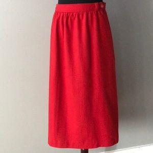 Vintage Red Wool Skirt